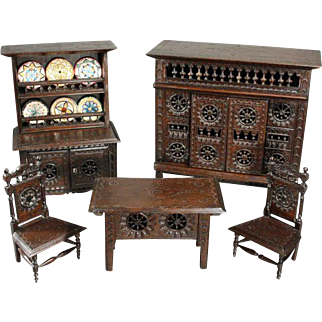 Outstanding French Wooden Doll Furnishings from Brittany