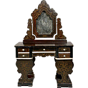 Rare Antique German Wooden Dressing Table in Boulle Style