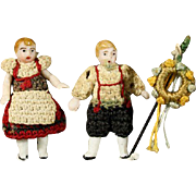 Tiny German All-Bisque Dolls in Original Costume - By Carl Horn