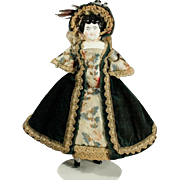 Antique Dollhouse Porcelain Doll in Original Velvet and Brocade Costume