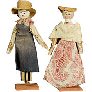 Early Wooden Theater Dolls - The Farmers