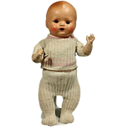 Composition German clockwork Walking Baby Doll in Original Costume