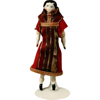 Antique German Porcelain Miniature Dollhouse Lady or Early Theater Doll
