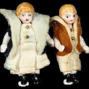 Antique All Bisque Couple of Tiny Dolls in Original Velvet Costume