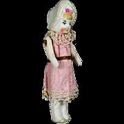 All-Bisque Bonnet Doll in Original Costume