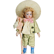 Antique Charming All-Bisque Tiny Doll - The Shepherd Boy