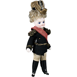 All Bisque French Mignonette in Original Uniform with Bicorn