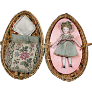 Antique French All-Bisque Doll in Presentation Wicker Egg Bag