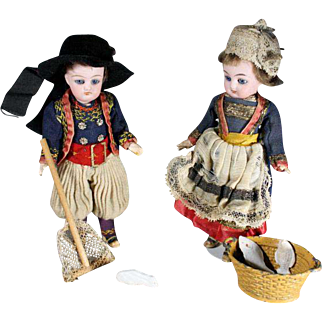Fishing Vignette with Bisque Head Dolls in Original Costumes - For the French Market