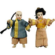Lovely Pair of All-Bisque Asian Tiny Dolls