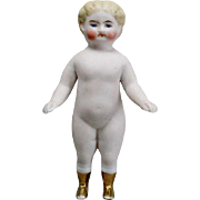 All-Bisque Frozen Charlotte Doll with Gold painted Boots