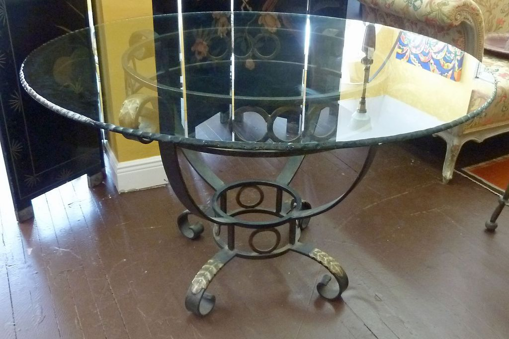 Iron Pedestal Dining Table with Glass Top from rubylane  : RL 1403 111L from www.rubylane.com size 1024 x 682 jpeg 101kB