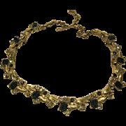 Blue Rhinestone Silver Tone Jeweled Adjustable Length Necklace