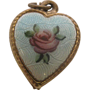Vintage Sterling Silver Blue Guilloche Enamel with Pink Rose Puffy Heart Charm