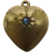 Rare Vintage Sterling Silver Puffy Heart Charm with Blue Stone