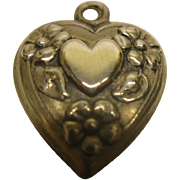 Vintage Sterling Silver Puffy Heart Charm Heart Within A Heart