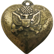 Vintage World War II Era Sterling Silver Puffy Hearts Army Eagle Charm
