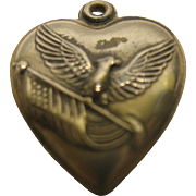 Vintage Sterling Silver Eagle Holding American Flag Puffy Hearts Charm