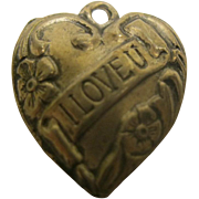 Vintage Sterling Silver I Love U Puffy Hearts Charm
