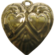 Vintage Sterling Silver Double Heart Puffy Heart Charm