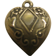 Vintage Sterling Silver Floral Diamond Theme Puffy Heart Charm