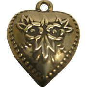 Vintage Sterling Silver Floral Theme Puffy Heart Charm