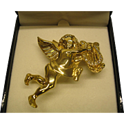 Vintage Signed Givenchy Angel Playing Harp Pin Broach In Original Box