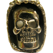 Vintage Signed G & S 1985 Silver Over Bronze Skull Ring Sz 7