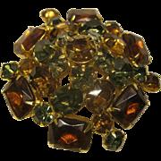 Vintage Jeweled Amber Rhinestone pin Broach