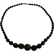 """Antique French Jet Single Strand Mourning Necklace Length 17.5"""""""