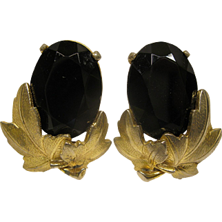 Signed Circa 1970's Large Schiaparelli Faux Black Onyx Rhinestone Clip Earrings