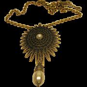 Estate Signed Oscar de la Renta Jeweled Pendant Broach Necklace