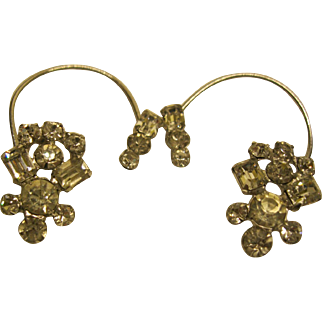 Vintage Clear Rhinestone Over The Ear Cuffs
