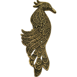Rare Vintage Signed ROMAN Marcasite Peacock Pin Broach