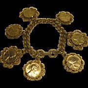 Vintage Ornate Lincoln Penny Charm Bracelet