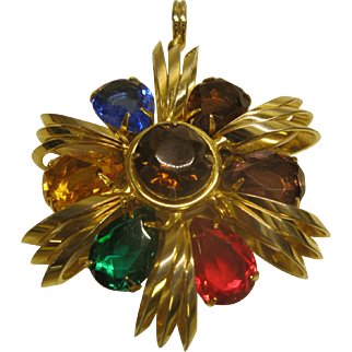 Vintage Large Jeweled Gold Tone Pendant