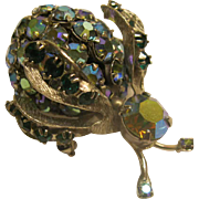 Vintage 1950's Signed Warner Blue AB Rhinestone Bug Pin Broach