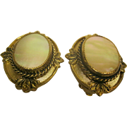 Vintage Signed Whiting & Davis Mother Of Pearl Gold Tone Clip Earrings