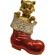 Rare Signed MYLU Cat In Stocking Christmas Pin Broach