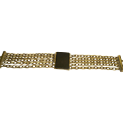Early Signed Napier Faux Onyx Multi Chain Silver Tone Bracelet