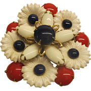 Unique Vintage Red White Blue Flower Pin Broach