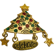 Signed AJMC Christmas Tree Pin Broach