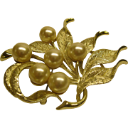 Large Vintage Signed Emmons Faux Pearl Gold Tone Leaf Pin Broach