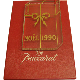 1990 Signed Baccarat Annual Crystal Christmas Ornament in Original Box