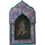 """Vintage Signed Whimsical Dee Ann Segula """"Renaissance Cat"""" Pull Toy Shadow Box"""