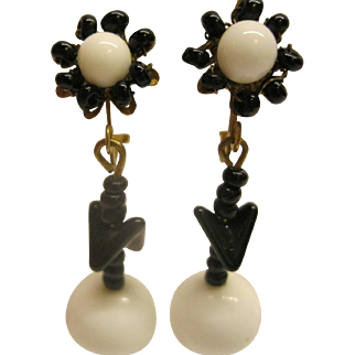 Signed Miriam Haskell Black & White Drop Dangle Screw Back Clip Earrings