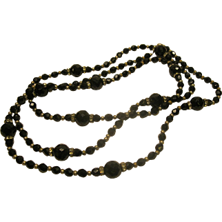 """1920's to 1940's French Jet Rhinestone Bead Necklace 56"""" Long"""