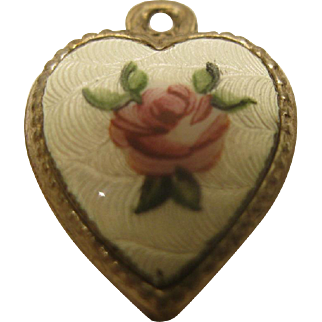 Vintage Sterling Silver White Guilloche Enamel Pink Rose Puffy Heart Charm