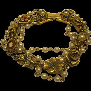 Signed Goldette Three Strand Charm Bracelet
