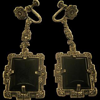 Art Deco Sterling Marcasite Onyx Long Screw Back Earrings